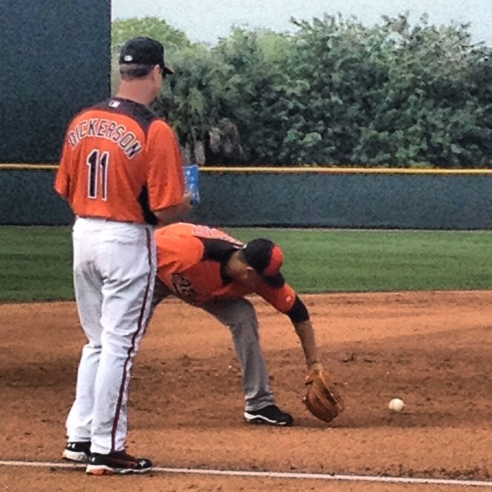 New third base coach Bobby Dickerson and  third baseman Manny Machado.