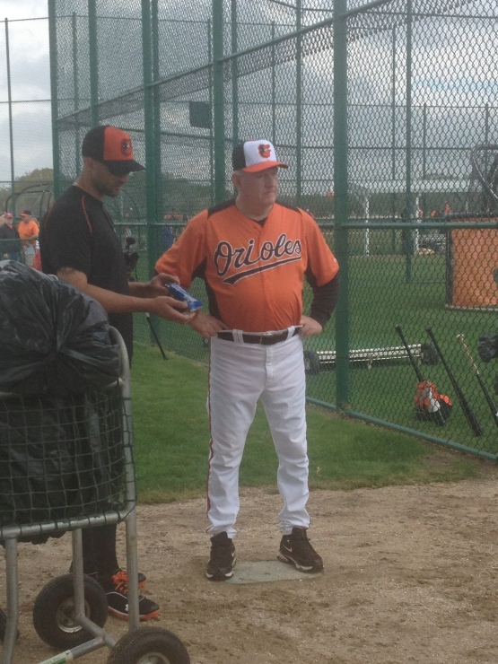 Nick Markakis and Terry Crowley, who celebrated his birthday today.