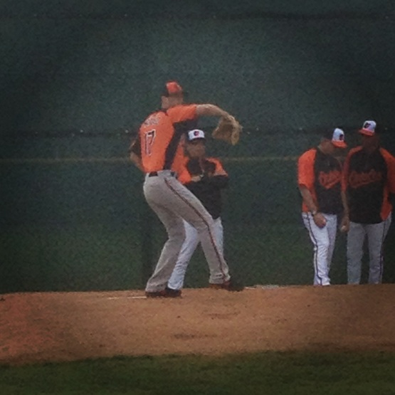 Brian Matusz throwing a bullpen session