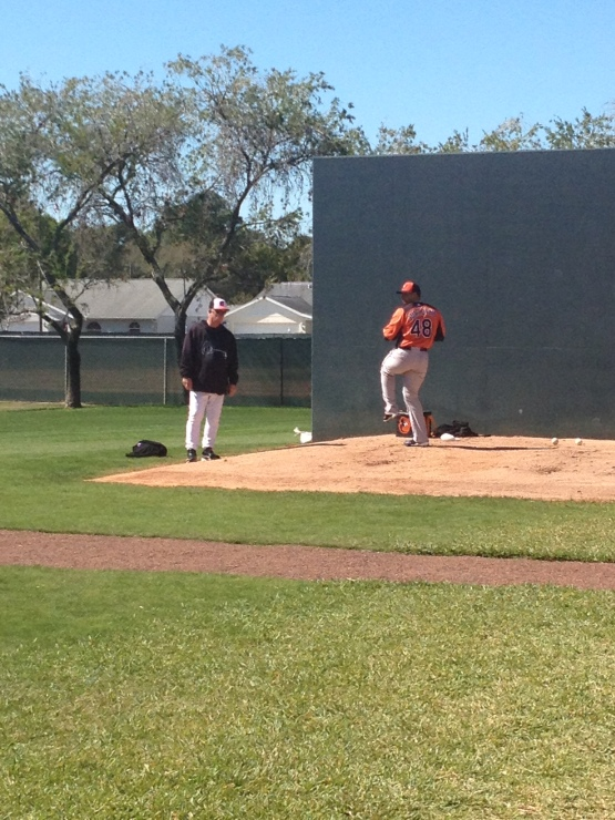 Jair Jurrjens throwing his first bullpen as an Oriole.