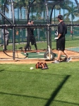 Machado takes some swings in the cage