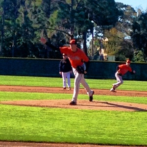 Kevin Gausman doing a drill in camp.